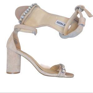 Steve Madden Pearl and Jewel Embellish Block Heels
